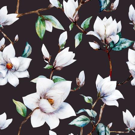 magnolia flowers: Beautiful raster pattern with nice watercolor magnolia flowers