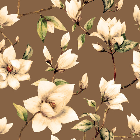 Beautiful raster pattern with nice watercolor magnolia flowers