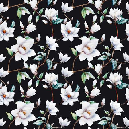 素敵な水彩画のマグノリアの花を持つ美しいラスター パターン