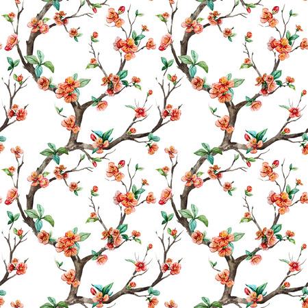 apricot tree: Beautiful raster pattern with nice watercolor sakura tree