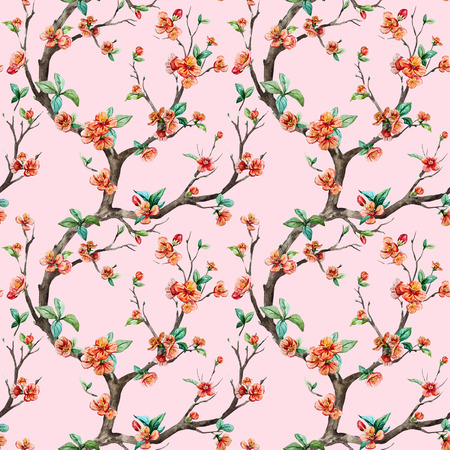 seamless floral pattern: Beautiful raster pattern with nice watercolor sakura tree
