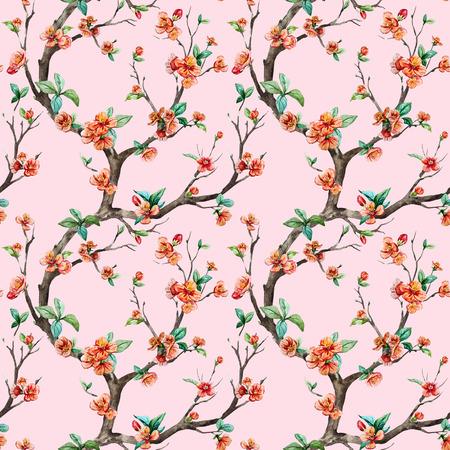 japanese garden: Beautiful raster pattern with nice watercolor sakura tree