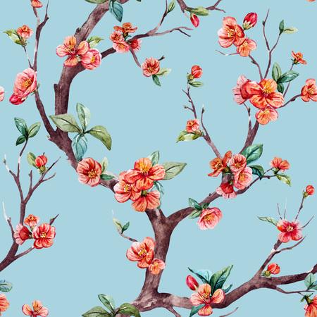 素敵な水彩画の桜の木と美しいラスター パターン