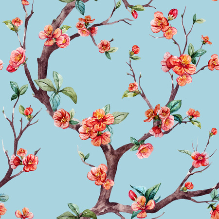 fleur cerisier: Beau motif de trame avec une belle aquarelle arbre de sakura Banque d'images