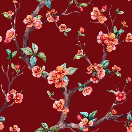 Beautiful raster pattern with nice watercolor sakura tree