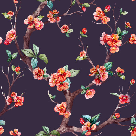 cerezos en flor: patrón de trama hermosa con el árbol de sakura bonita acuarela