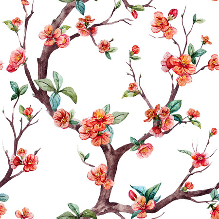 Beautiful raster pattern with nice watercolor sakura tree