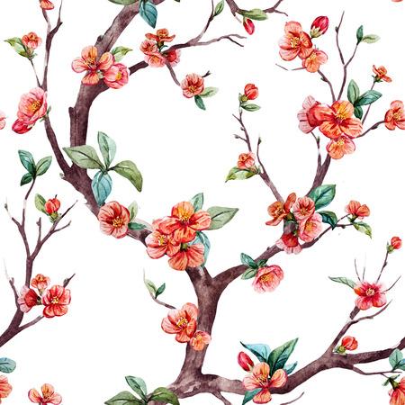 durazno: patrón de trama hermosa con el árbol de sakura bonita acuarela