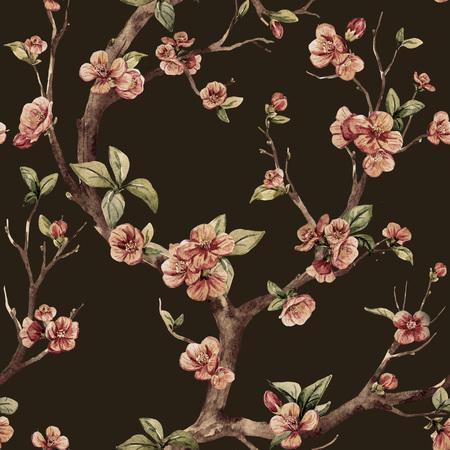 peach blossom: Beautiful raster pattern with nice watercolor sakura tree