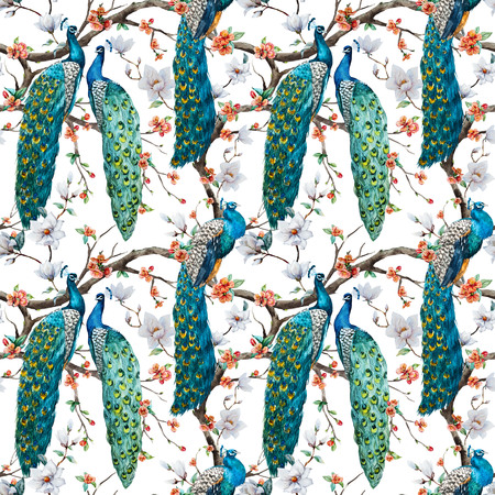 peacock pattern: Beautiful raster pattern Watercolor raster peacock pattern Stock Photo