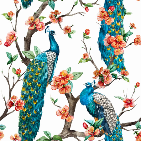 textiles: Beautiful raster pattern Watercolor raster peacock pattern Stock Photo