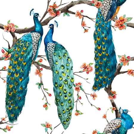 Beautiful raster pattern Watercolor raster peacock pattern Stock Photo - 53506643