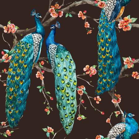 botany: Beautiful raster pattern Watercolor raster peacock pattern Stock Photo