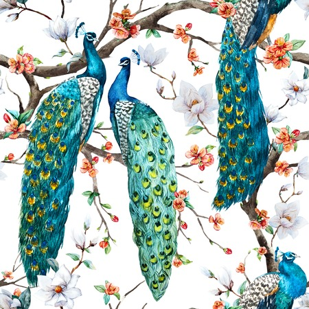 blue vintage background: Beautiful raster pattern Watercolor raster peacock pattern Stock Photo