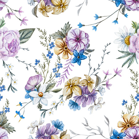 Beautiful seamless raster pattern with nice watercolor hand drawn flowers