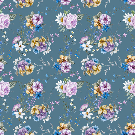vintage pattern: Beautiful seamless raster pattern with nice watercolor hand drawn flowers