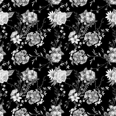 flower patterns: Beautiful seamless raster pattern with nice watercolor hand drawn flowers