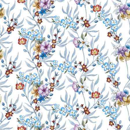 retro flowers: Beautiful seamless raster pattern with nice watercolor hand drawn flowers
