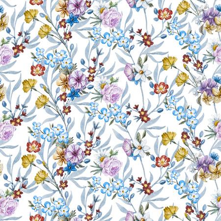 patrones de flores: sin fisuras patrón de trama hermosa con flores dibujadas a mano acuarela bonita Foto de archivo