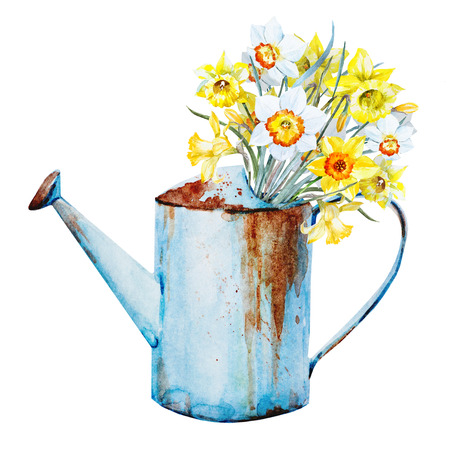 Beautiful image with nice watercolor spring flowers