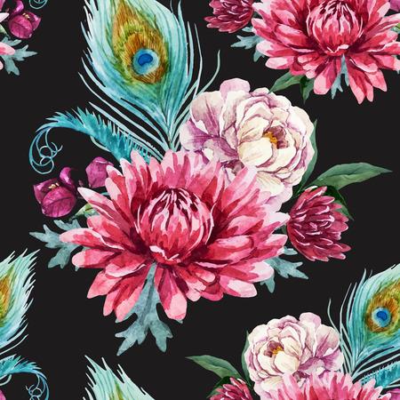 animal print: Modelo hermoso con un bonito pavo real acuarela y flores
