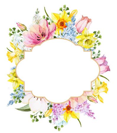 Bella immagine con cornice floreale bella primavera acquerello Archivio Fotografico - 54126990