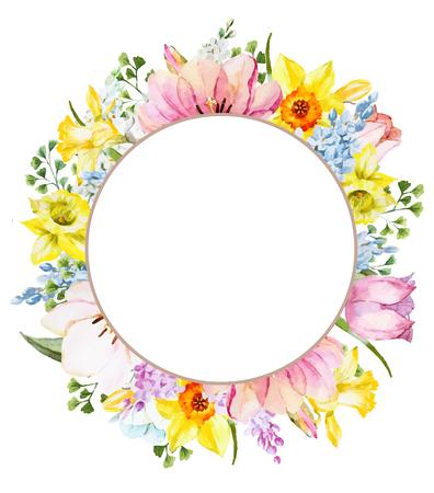 Bella immagine con bella cornice floreale primavera acquarello Archivio Fotografico - 54126999