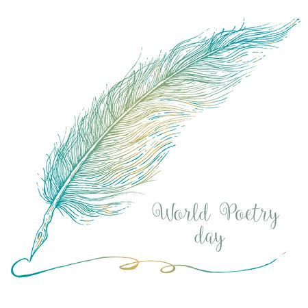 literatura: Imagen hermosa del vector con plumas mano agradable gráfico dibujado