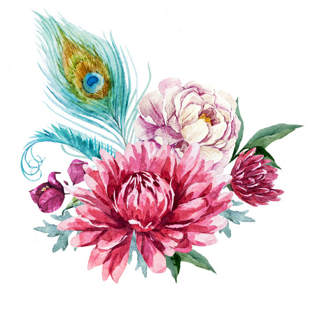 peacock design: Beautiful image with nice watercolor floral hand drawn composition Stock Photo