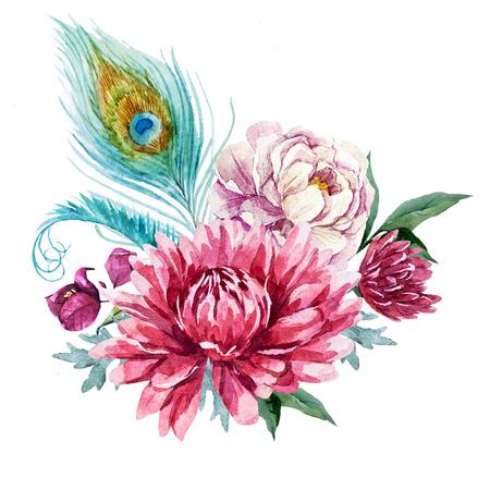 peacock feathers: Hermosa imagen con buena mano de acuarela floral composición desenvainada Foto de archivo