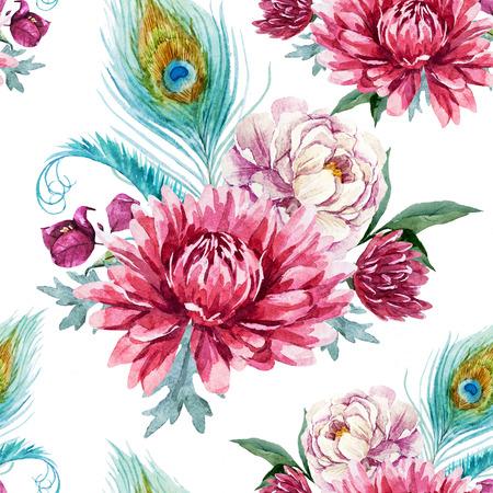 plumas de pavo real: Modelo hermoso con un bonito pavo real acuarela y flores