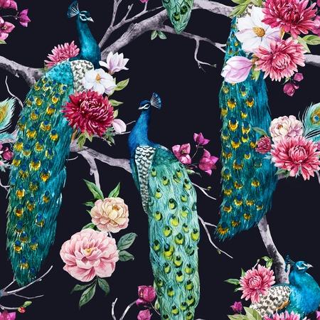Schöne Muster mit schönen Aquarell Pfau und Blumen Standard-Bild - 54127029