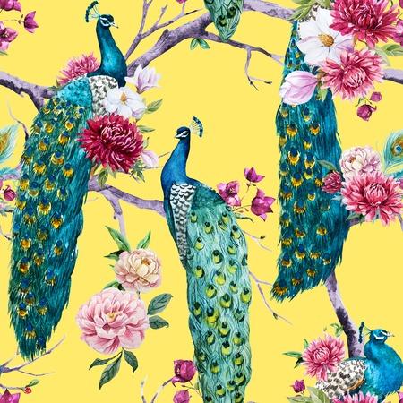 Beautiful pattern con bella pavone acquerello e fiori