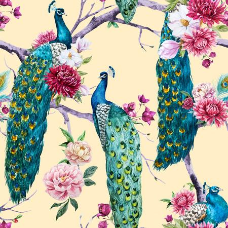 pavo real: Modelo hermoso con un bonito pavo real acuarela y flores