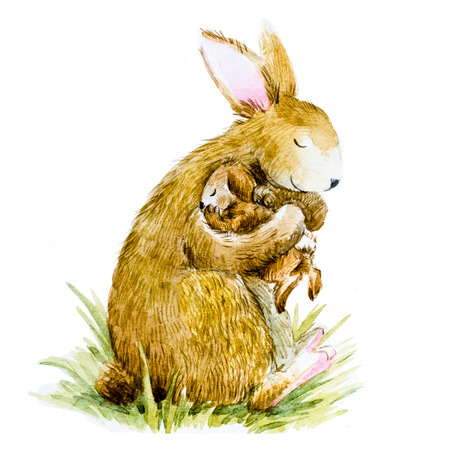 Beautiful image with nice watercolor hand drawn rabbit with baby
