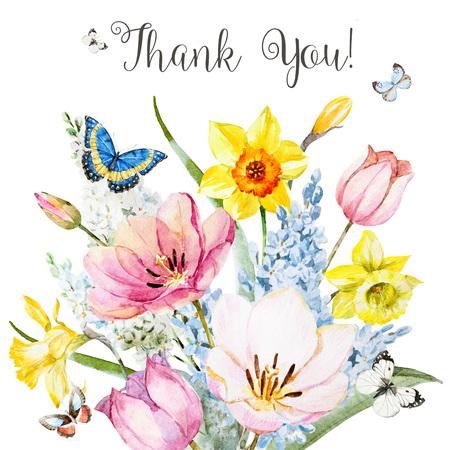Hermosa imagen con composición floral agradable de la primavera de la acuarela