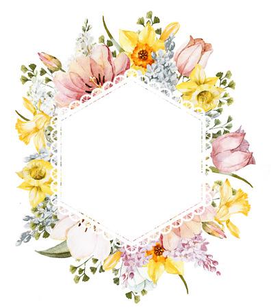 Bella imagen con el marco floral agradable de la primavera de la acuarela