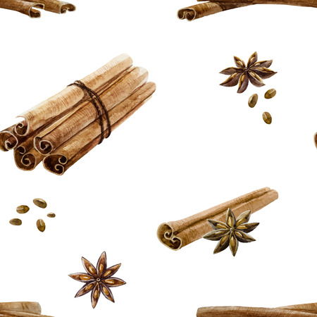 anise: Beautiful pattern with hand drawn watercolor spices cinnamon and anise