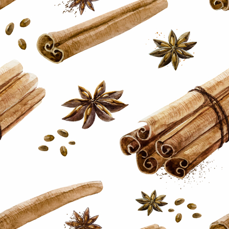 Beautiful pattern with hand drawn watercolor spices cinnamon and anise