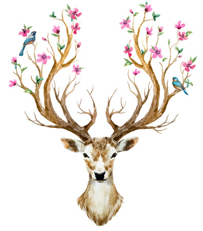 Beautiful image with nice watercolor hand drawn deer