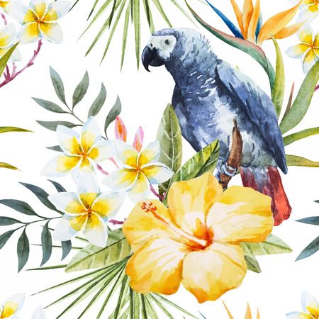 exotic plant: Beautiful pattern with nice tropical watercolor watercolor flowers and parrot