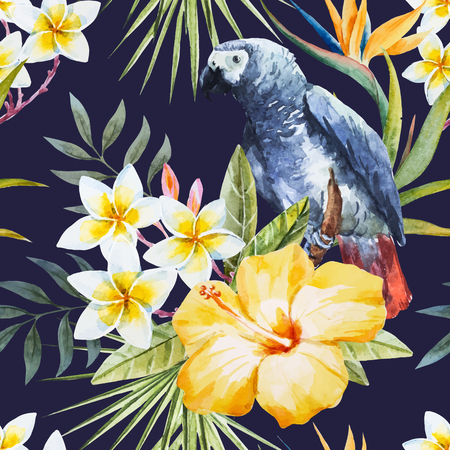 cockatoo: Beautiful pattern with nice tropical watercolor watercolor flowers and parrot