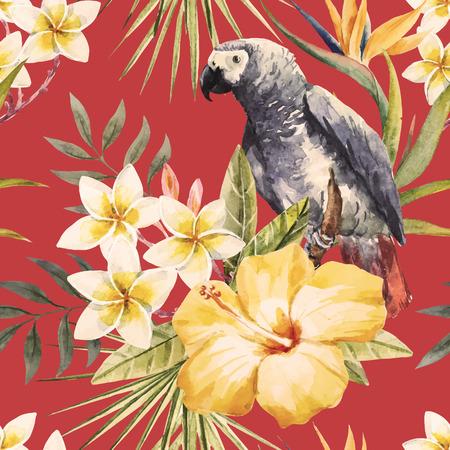 Modelo hermoso con bonitas flores de la acuarela acuarela tropicales y loro