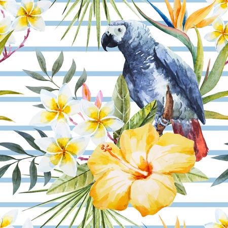 Mooi patroon met mooie tropische aquarel aquarel bloemen en papegaai Stock Illustratie