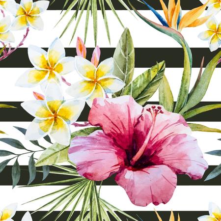 Mooi patroon met mooie tropische aquarel aquarel bloemen en papegaai Vector Illustratie