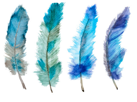 Beautiful image with nice watercolor hand drawn feathers Çizim