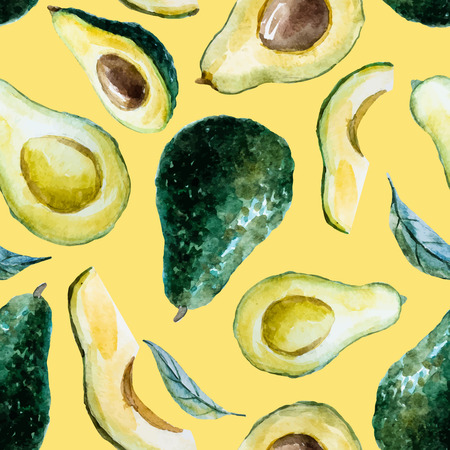 Beautiful pattern with nice watercolor hand drawn avocado
