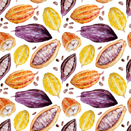 Beautiful pattern with nice hand drawn watercolor cocoa beans 向量圖像