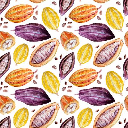 Mooi patroon met mooie hand getekende aquarel cacaobonen Stock Illustratie