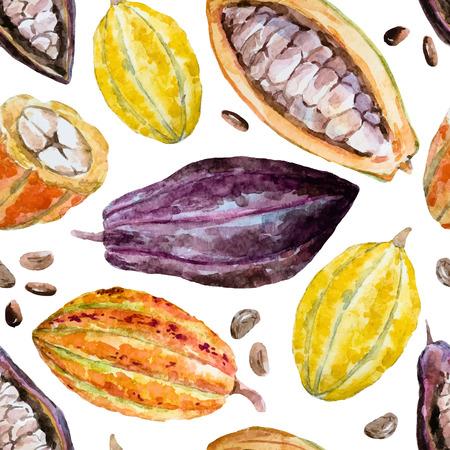Modelo hermoso con buenas semillas de cacao, dibujados a mano de la acuarela Ilustración de vector